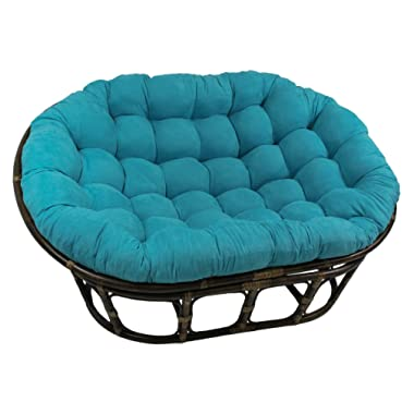 Blazing Needles Solid Microsuede Double Papasan Chair Cushion, 48  x 6  x 65 , Aqua Blue