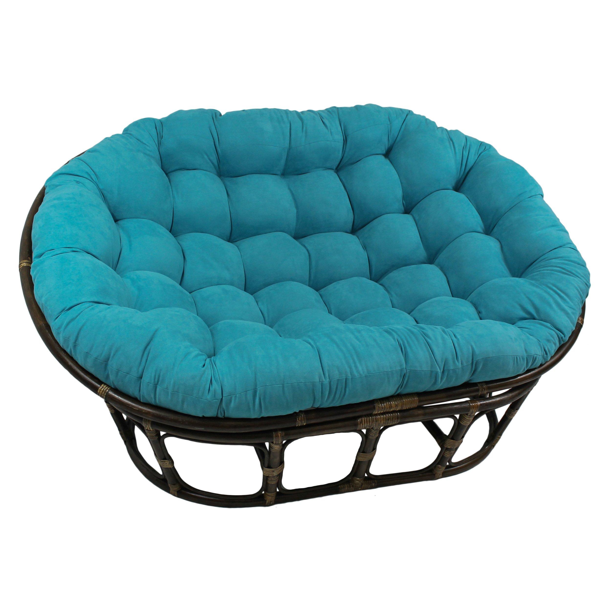Blazing Needles Solid Microsuede Double Papasan Chair Cushion, 58'' x 6'' x 78'', Java