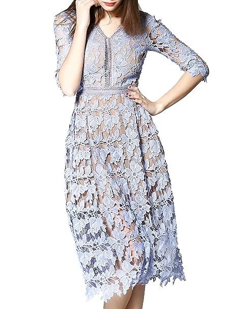 SHEIN V cuello de la mujer Crochet Hollow fuera una línea vestido