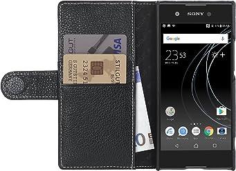StilGut Talis Case con Tasca per Carte, Custodia in Pelle Cover per Sony Xperia XA1 Ultra. Chiusura a Libro Flip-Case in Vera Pelle Fatta a Mano, Nero