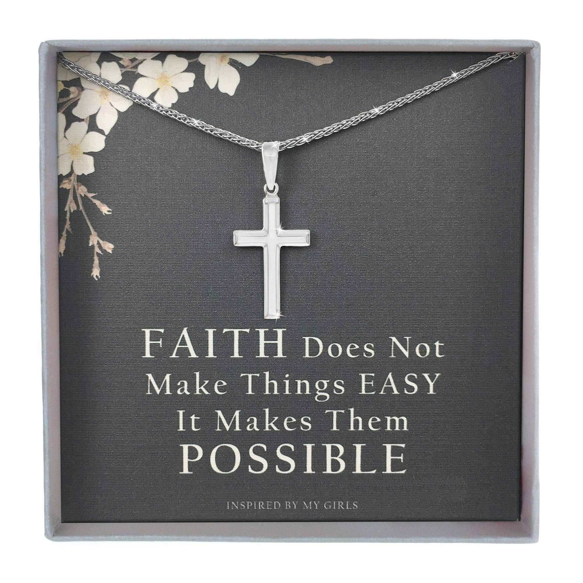 Sterling Silver Cross Necklace with Adjustable Wheat Chain and Faith Keepsake Card Gifts For Women