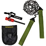 """SOS Gear Pocket Chainsaw and Fire Starter - Survival Hand Saw, Firestarter with Built in Compass & Whistle, Embroidered Pouch for Hunting, Camping - Green Straps, 24"""" or 36"""" Chain"""