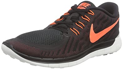 NIKE Men's Free 5.0 Running Shoe Black/University Red/White/Hyper Orange  Size