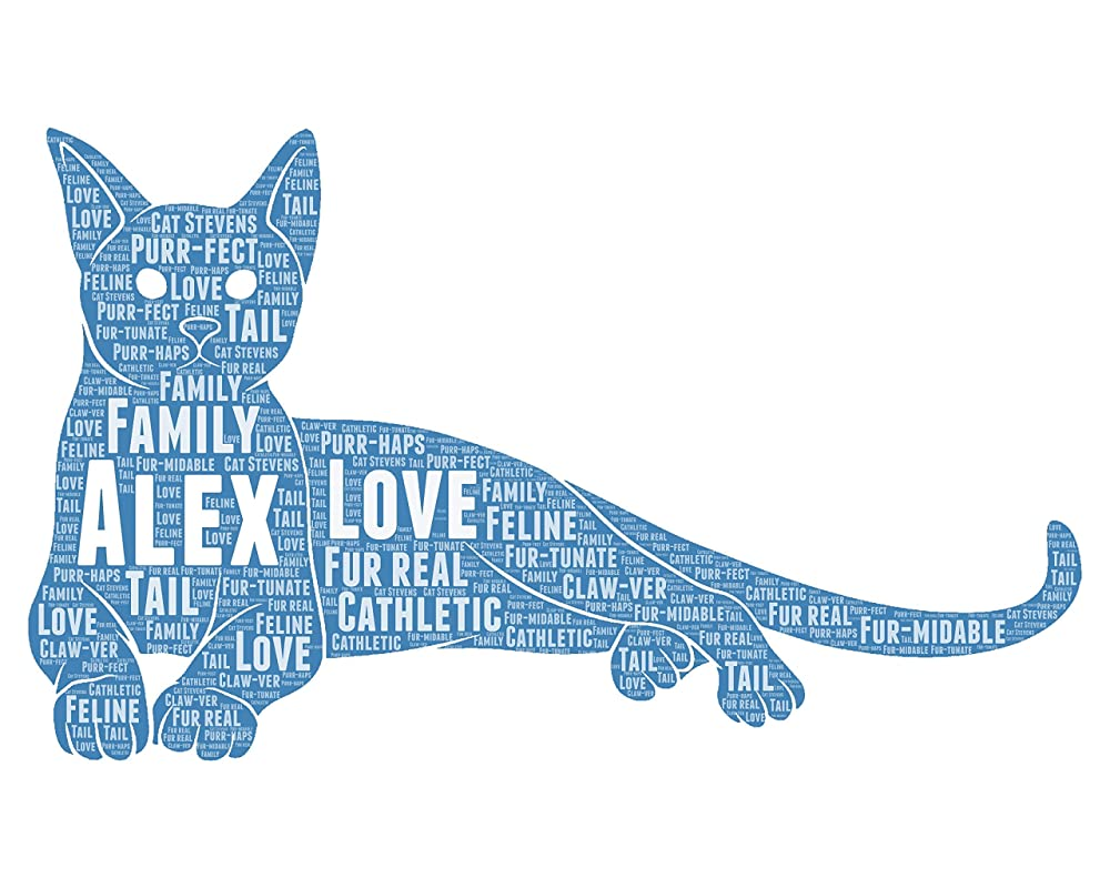 Cat Owner Gifts for Women - Personalized Cat Gift Must have - Animal Pet Typography Wordle Wordart Portrait Wall Decor Print 8x10 Inch…