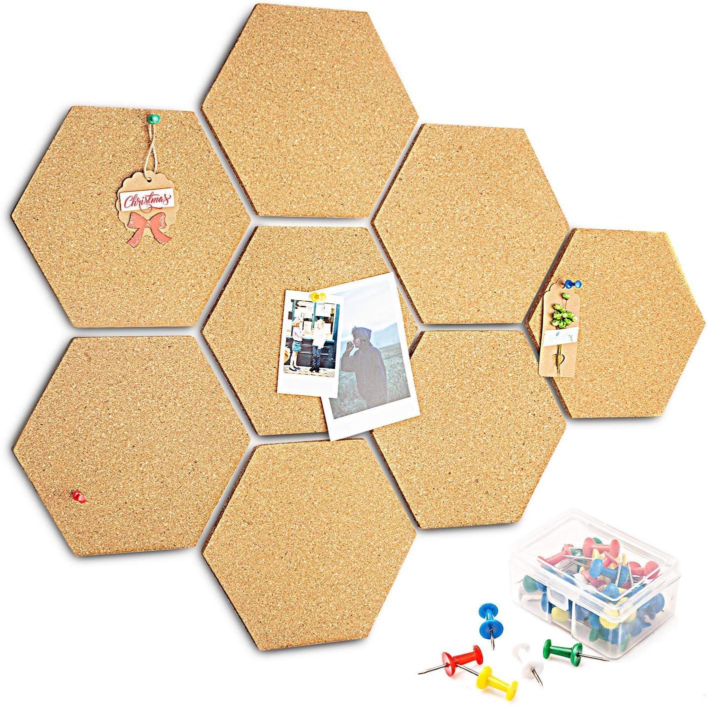 HENMI - 8 tablones de corcho autoadhesivos para DIY, uso multifuncional para colgar fotos, decoración del hogar y memorándum de oficina, con 40 unidades de chinchetas