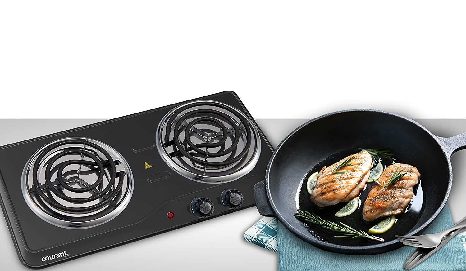 Courant Double Burner, 1700W Hotplate, Black Countertop Burner, Portable Electric Cooktop, Black, CEB2183K