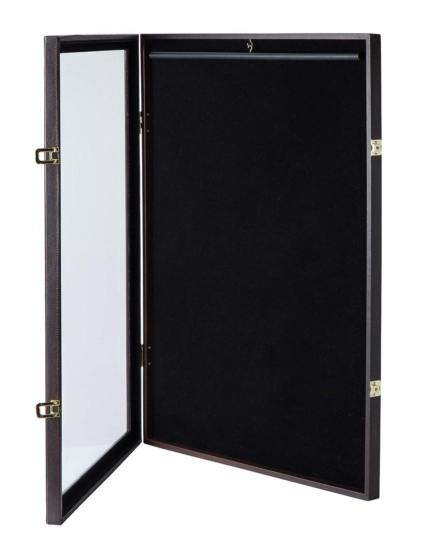 JackCubeDesign Abschließbare (2 Schlösser)   transparente Displaybox   Gehäuse für Jacke, Uniform, Trikot mit Acrylüberzug (braun) -  MK358B