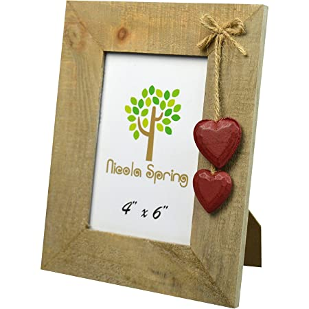 Nicola Spring Wooden Photo Picture Frame With Red Hearts 4 X 6