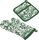 DII 100% Cotton, Machine Washable, Everyday Kitchen Basic, Damask Printed Oven Mitt and Pot Holder Gift Set, Dark Green