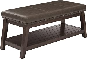 OSP Home Furnishings Emery Entry Bench with Nailhead Accents and Espresso Finish Wood Frame, Mocha Rustic Bonded Leather