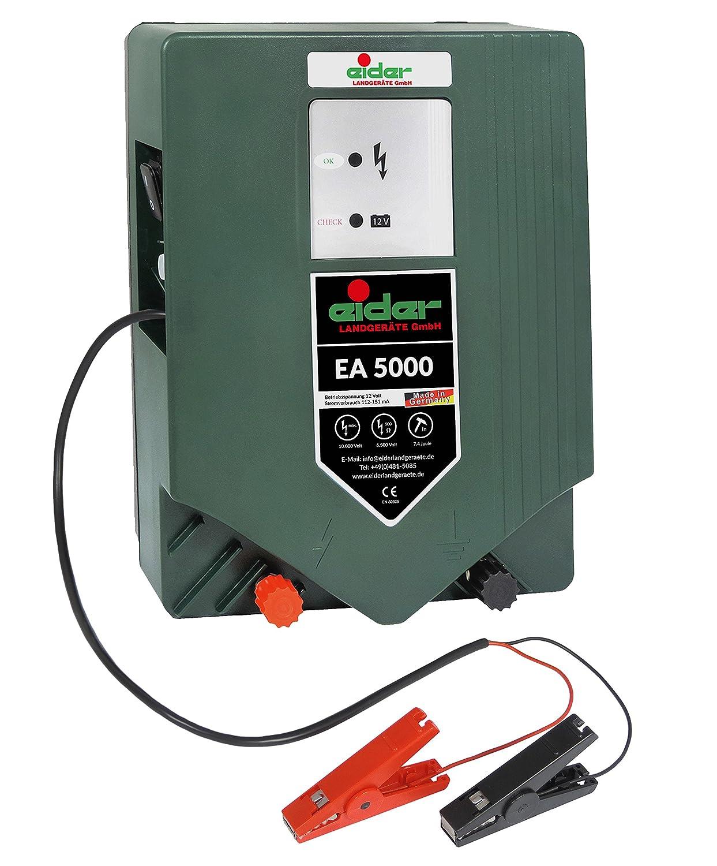 Eider 12 Volt / 230 Volt Joule Made in Germany Weidezaungerä t EA 5000 Premium-Line 12/230 V Hybridgerä t-Wahnsinnige 7,40 J-Fü r Lange Zaunanlagen, 12 V, 10.000 V, Grü n 10356-000