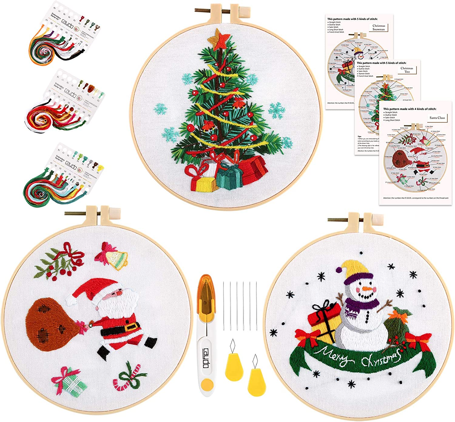Tools and Instructions Caydo 3 Sets Christmas Embroidery Starter Kit with Pattern Include 3 Embroidery Clothes with Christmas Themed Pattern Color Threads 3 Plastic Embroidery Hoops