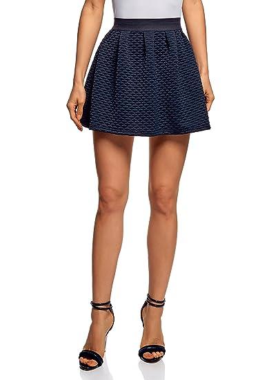 oodji Ultra Mujer Falda de Tejido Texturizado con Cintura Elástica ...