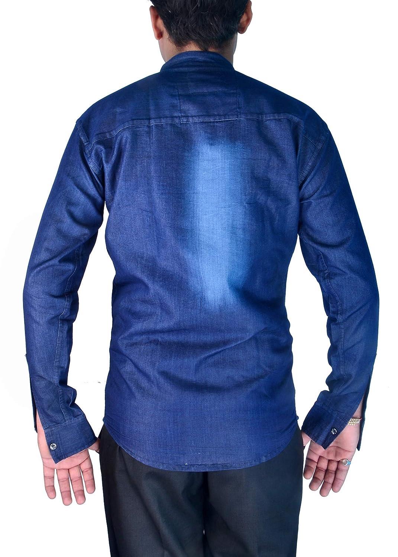 e9ce793344d Sunshiny Men s Denim Cotton Long Sleeve Slim Fit Shirts (Blue
