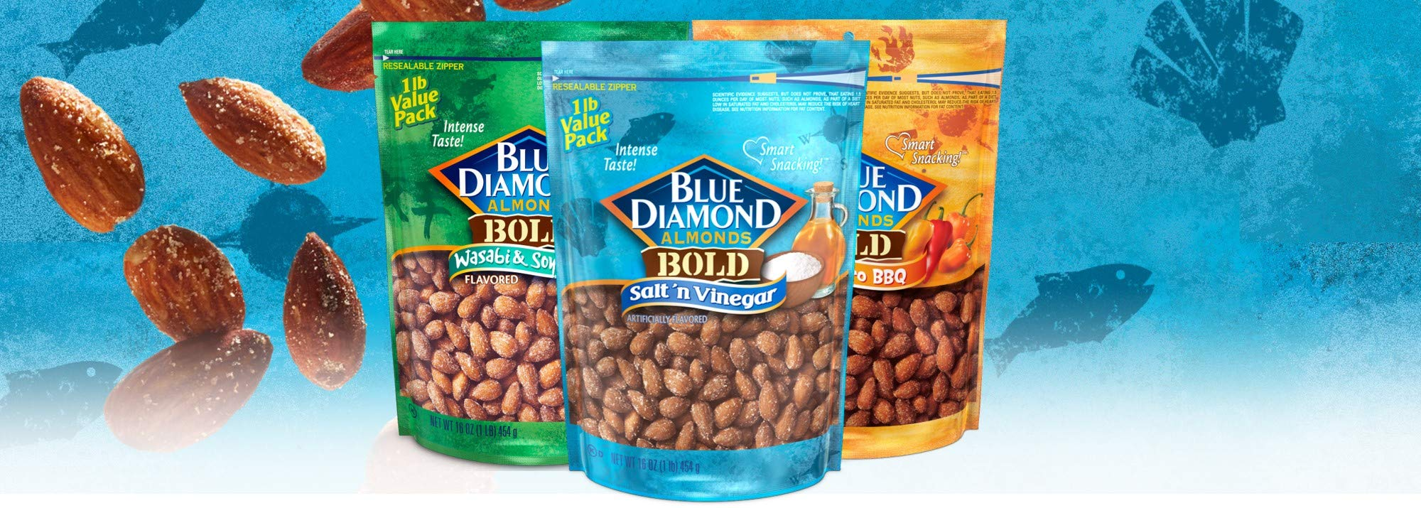 Blue Diamond Almonds BOLD Favorites Variety Pack - Salt 'n Vinegar, Habanero BBQ, & Wasabi & Soy Sauce, 16 Ounce BOLD Variety Pack (Pack of 3) by Blue Diamond Almonds (Image #2)