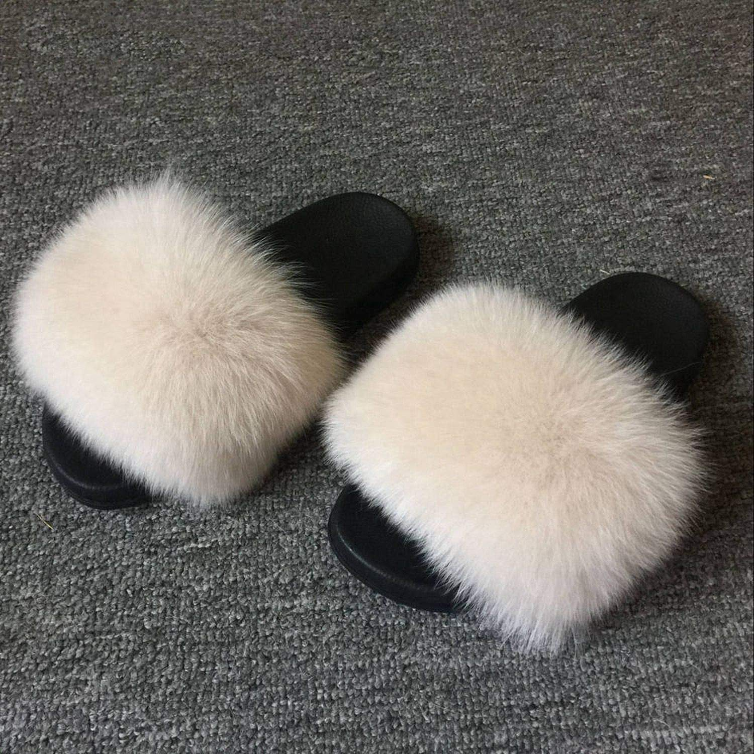 Nude Blingbling-honored High end Real Fox Fur Slipper Women Slides Sliders Fashion Spring Summer Autumn Fluffy Fur Lady S6018