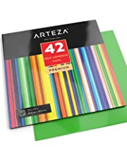ARTEZA Hojas de vinilo autoadhesivo | 42 Láminas de papel de vinilo de colores surtidos |