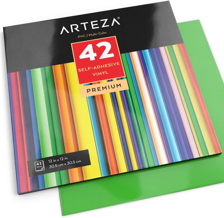 Arteza Hojas de vinilo autoadhesivo | 42 Láminas de papel de ...