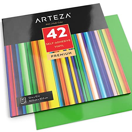 arteza self adhesive vinyl sheets 12 x12 assorted colours pack