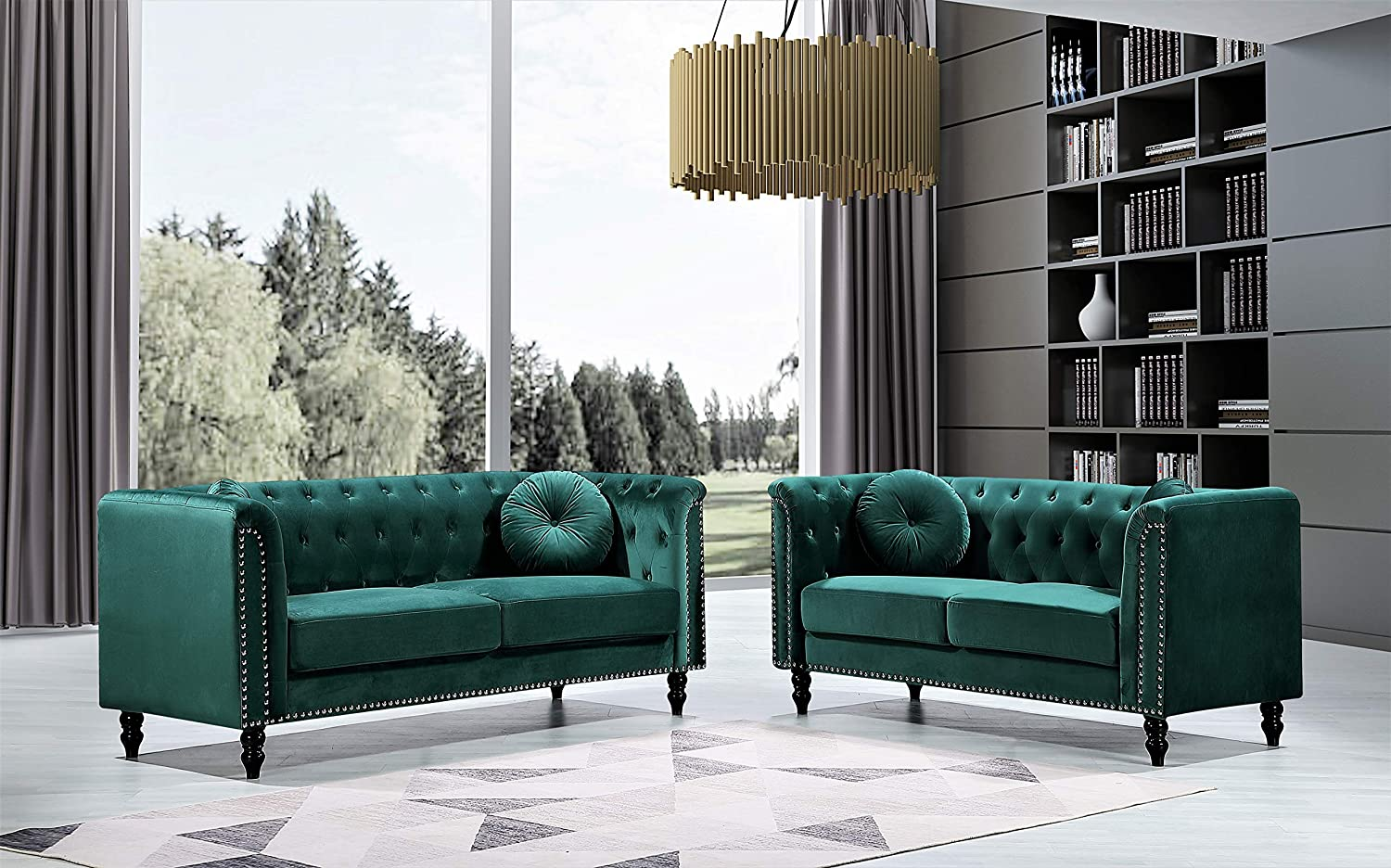 Container Furniture Direct Kittleson Mid Century Velvet Upholstered Nailhead Chesterfield Sofa Set, 2 Piece, Green