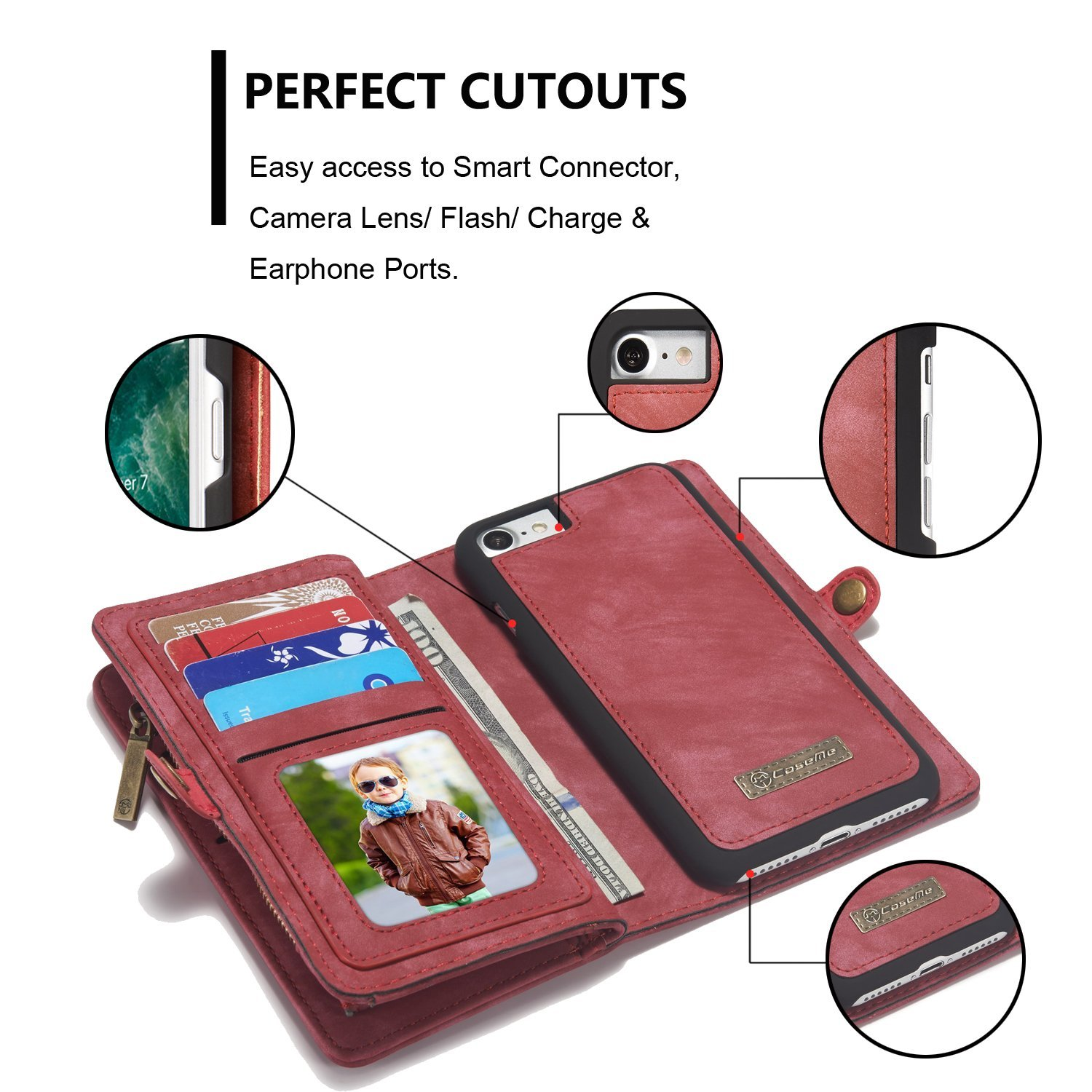 Scratch Resistant 2018 Zipper Wallet Cover with Credit Card Holder for OnePlus 6T Spritech OnePlus 6T Wallet Case,Handmade Leather Large Capacity Detachable