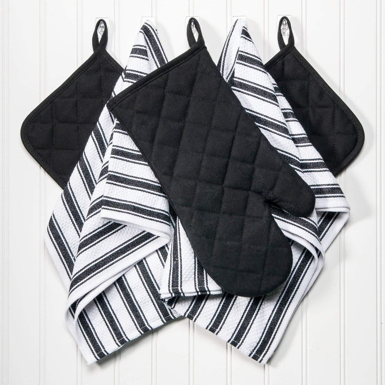 Dish Towels, Pot Holders Oven Mitt 5-Piece Premium Kitchen Linen Set Saybrook, 100% Cotton, Black/White Saybrook Products COMINHKPR121639