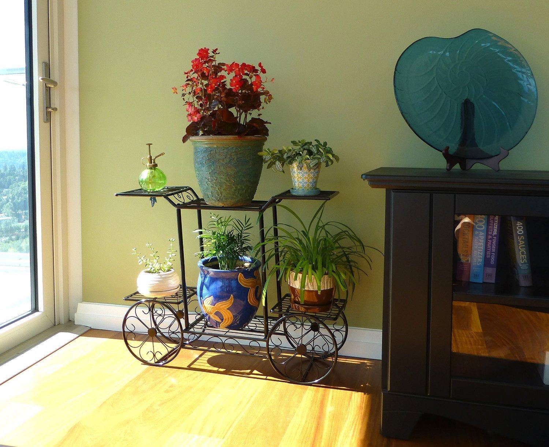 Flower Pot Display Rack Black Metal 6-Tier Garden Cart Planter Stand