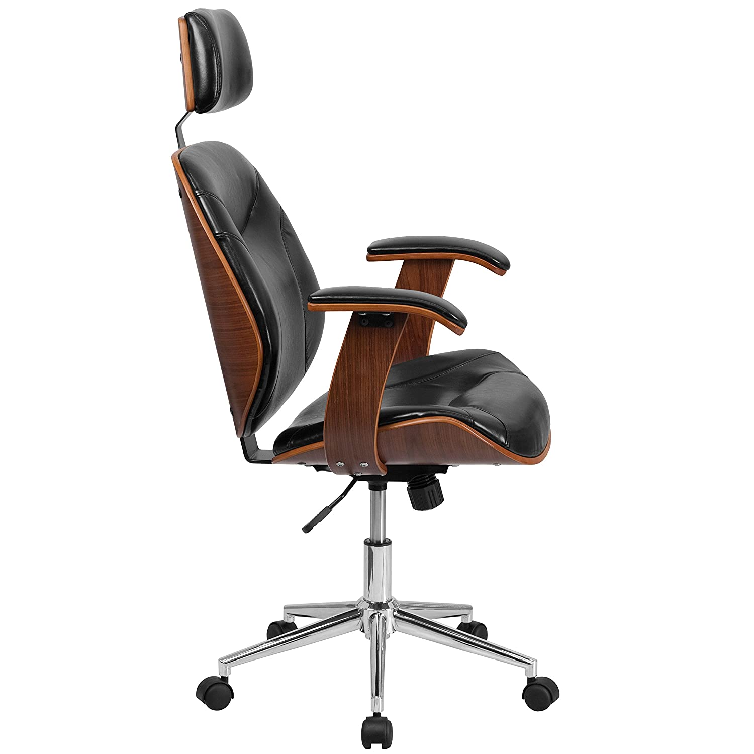 Amazon.com Flash Furniture High Back Black Leather Executive Wood Swivel Chair with Arms Kitchen u0026 Dining  sc 1 st  Amazon.com & Amazon.com: Flash Furniture High Back Black Leather Executive Wood ...