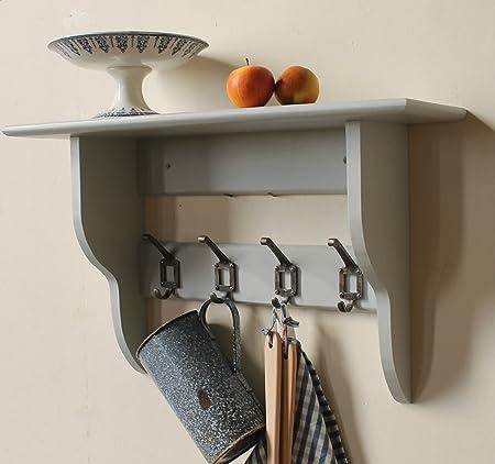 Hallway, Kitchen Or Bathroom Shelf With Coat Rack Hooks Pale Grey (5 Hooks)