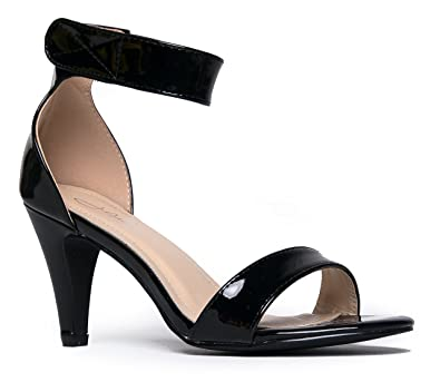 Amazon.com | Wide Ankle Strap High Heel - Open Toe Dress Sandal ...