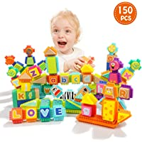 TOP BRIGHT 150 Piece Wooden Building Letter Blocks Toy for Toddlers