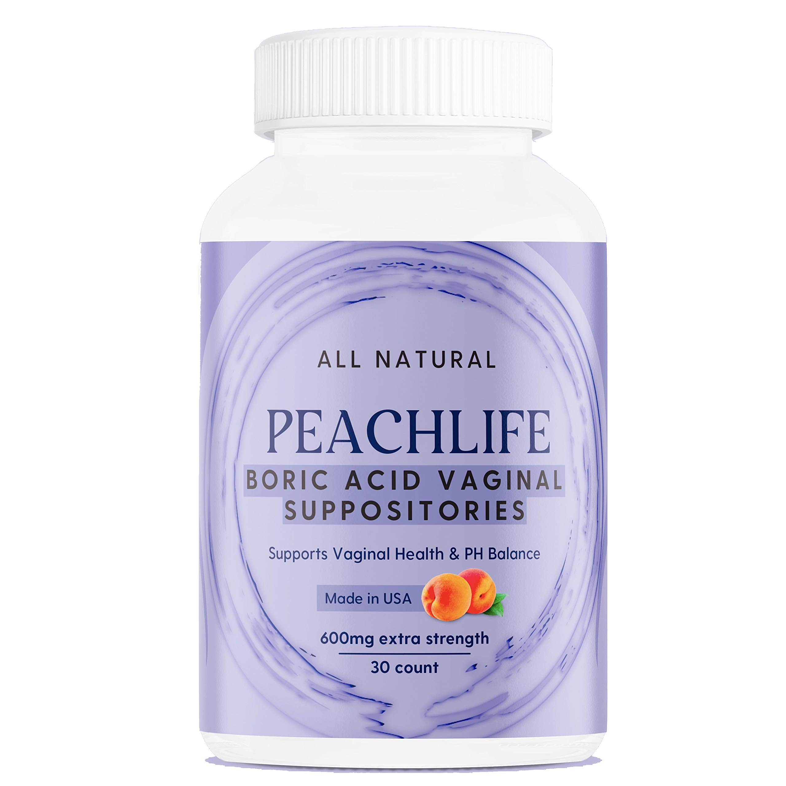 Peachlife Boric Acid Vaginal Suppositories - 30 Capsules, 600 mg - Made in USA - Bacterial Vaginosis, Yeast Infection, Candida, UTI Support - Ultra Fine Powder - Extra Strength