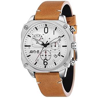 AVI-8 Hawker Hunter Reloj de Hombre Cuarzo 45mm Correa de Cuero AV-4052-01: Amazon.es: Relojes