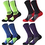 4 pack Men's Crew Socks Basketball Cushioned Dri-Fit Athletic Compression Sport Socks