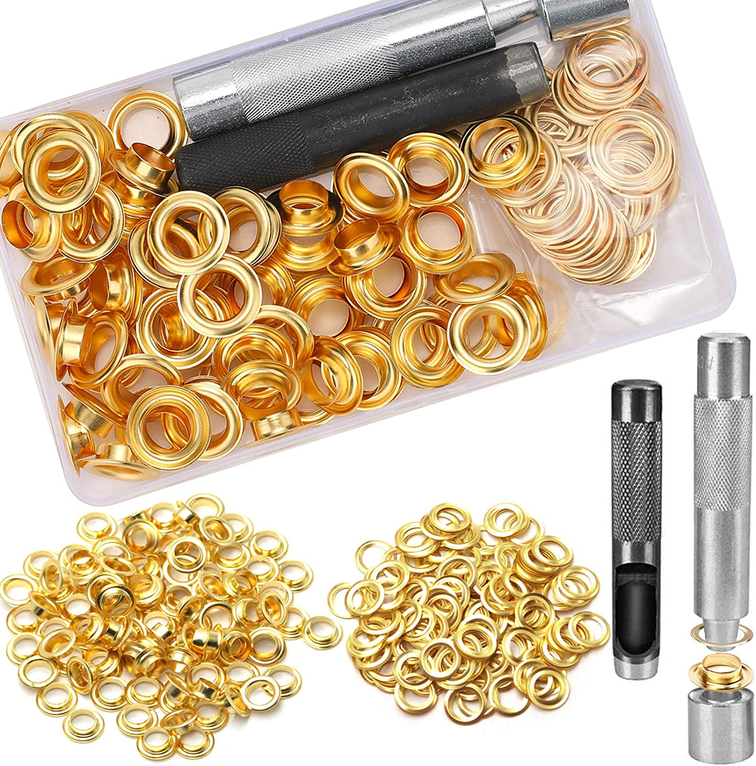 Repair and Decoration 1//2 Inch Inside Diameter 3 Colors Grommets Kit with Storage Box for Craft Making 1//2inch Grommet Kit 75 Sets Grommets Eyelets with 3 Pieces Install Tool Kit