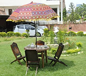Ethnic Indian Garden Umbrella Graced With Embroidery Work U0026 Mirror Work  Cotton Parasol Diwali Gift