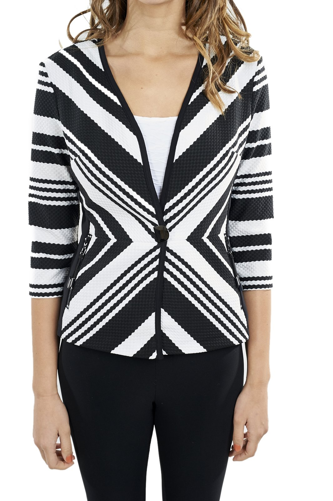 Joseph Ribkoff Black & White Striped Textured Coverup Jacket Style 172852 - Size 6 by Joseph Ribkoff