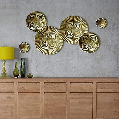 Decorlives Set of 6 Gold and Silver Sunburst Medium Metal Wall Art Decorative Sculpture Hanging Wall D cor
