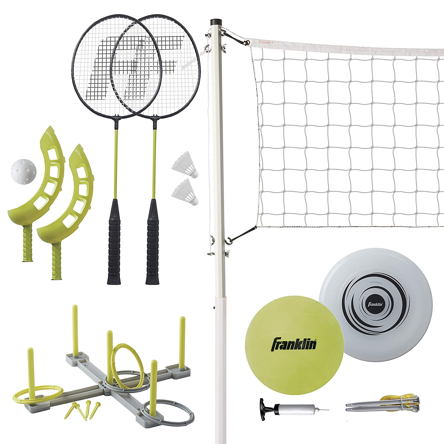 Amazon.com : Franklin Sports Fun 5 Combo Set - Badminton - Volleyball - Ring Toss - Flip Toss - Flying Disc : Sports & Outdoors