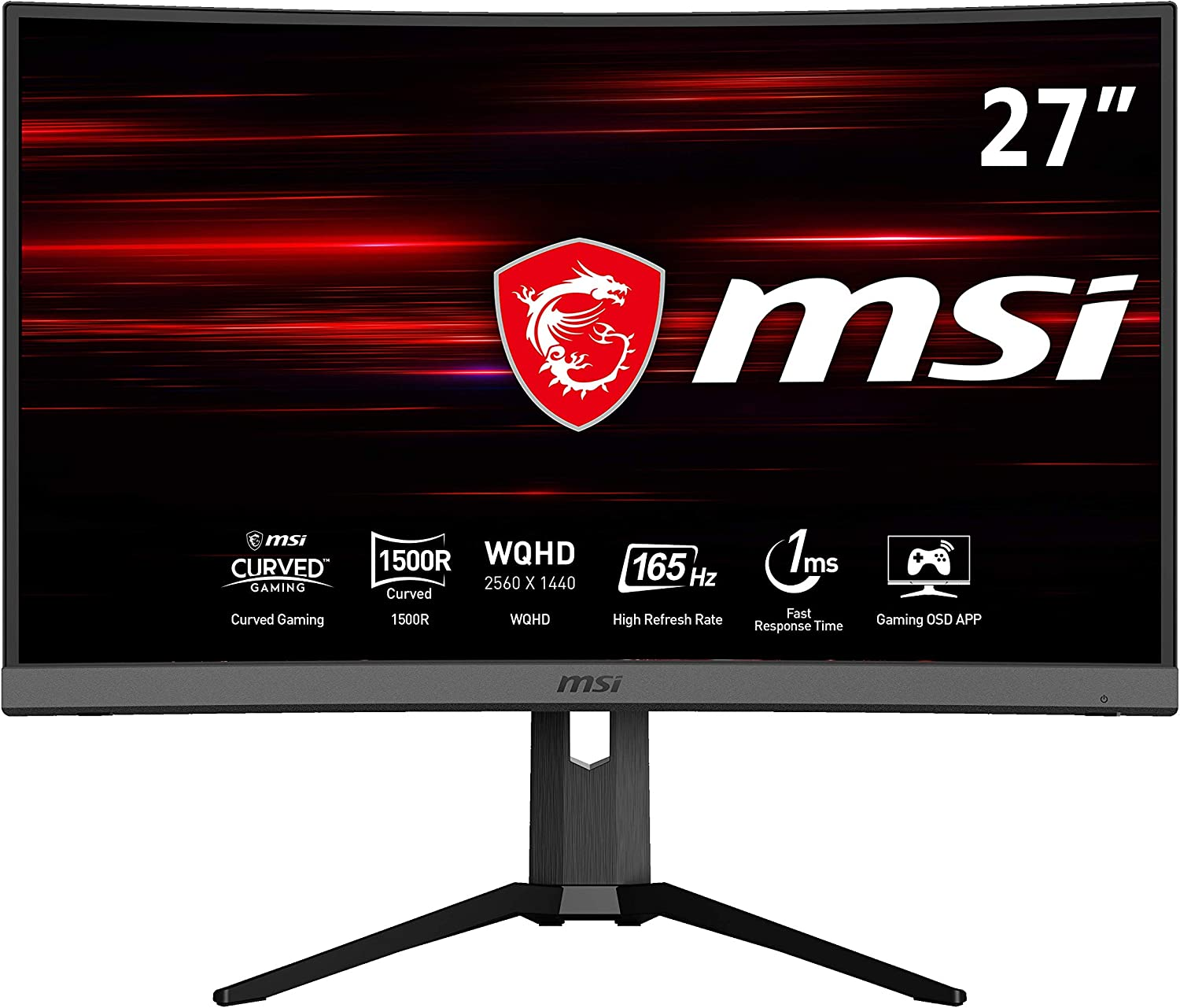 "MSI Optix MAG272CQR - Monitor Gaming Curvo de 27"" LED WQHD 165Hz (2560 x 1440p, ratio 16:9, Panel VA, pantalla curva 1500R, 1 ms respuesta, brillo 300 nits, Anti-glare) negro"