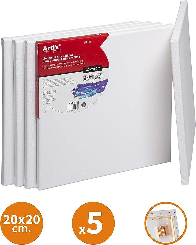 Pack 5 Lienzos para Pintar 30x40cm Lienzo Blanco Algodon 100% para Pintura Acrilica, Oleo y Técnica Mixta   Artix PRO: Amazon.es: Hogar