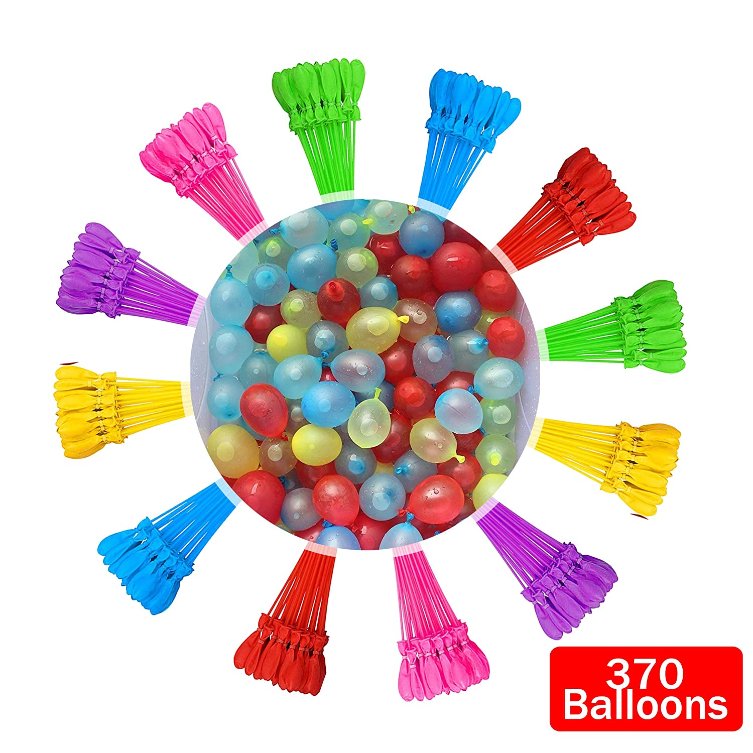 Tiny Balier Water Balloons 10 Pack 370 Balloons Easy Quick Fill for Splash Fun Kids and Adults Party Pool with Instant in 60 Seconds Color1