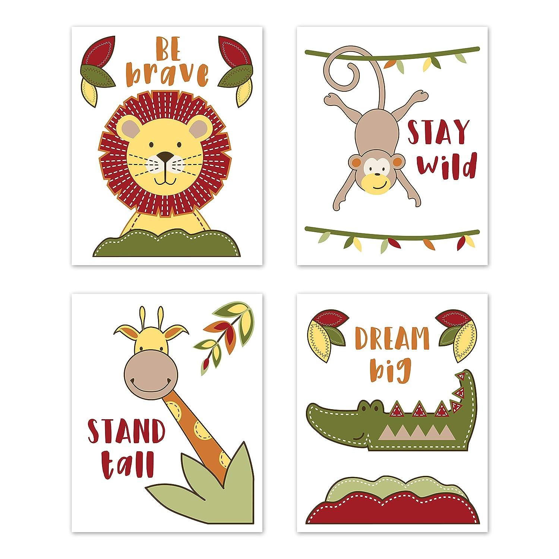 Yellow and Kids Sweet Jojo Designs Jungle Safari Animal Wall Art Prints Room Decor for Baby Nursery Set of 4 and Blue Elephant Giraffe Monkey Lion Time Green Red