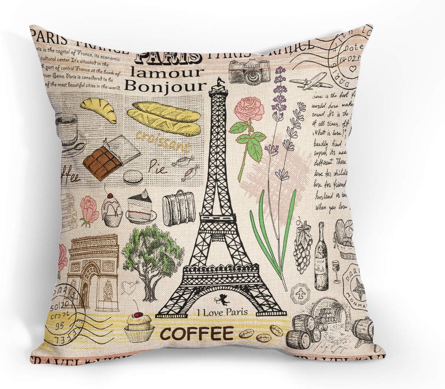 DZGlobal Eiffel Tower Throw Pillows Cover Paris Pillow Case Decoration Home Decor Cushion Case Farmhouse and Sofa Couch Cotton Linen 18