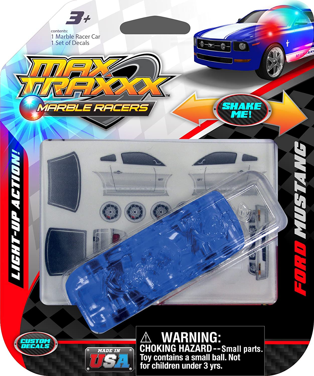 Max Traxxx Ford Mustang Light Up Marble Racer Car B00LH4BYXU