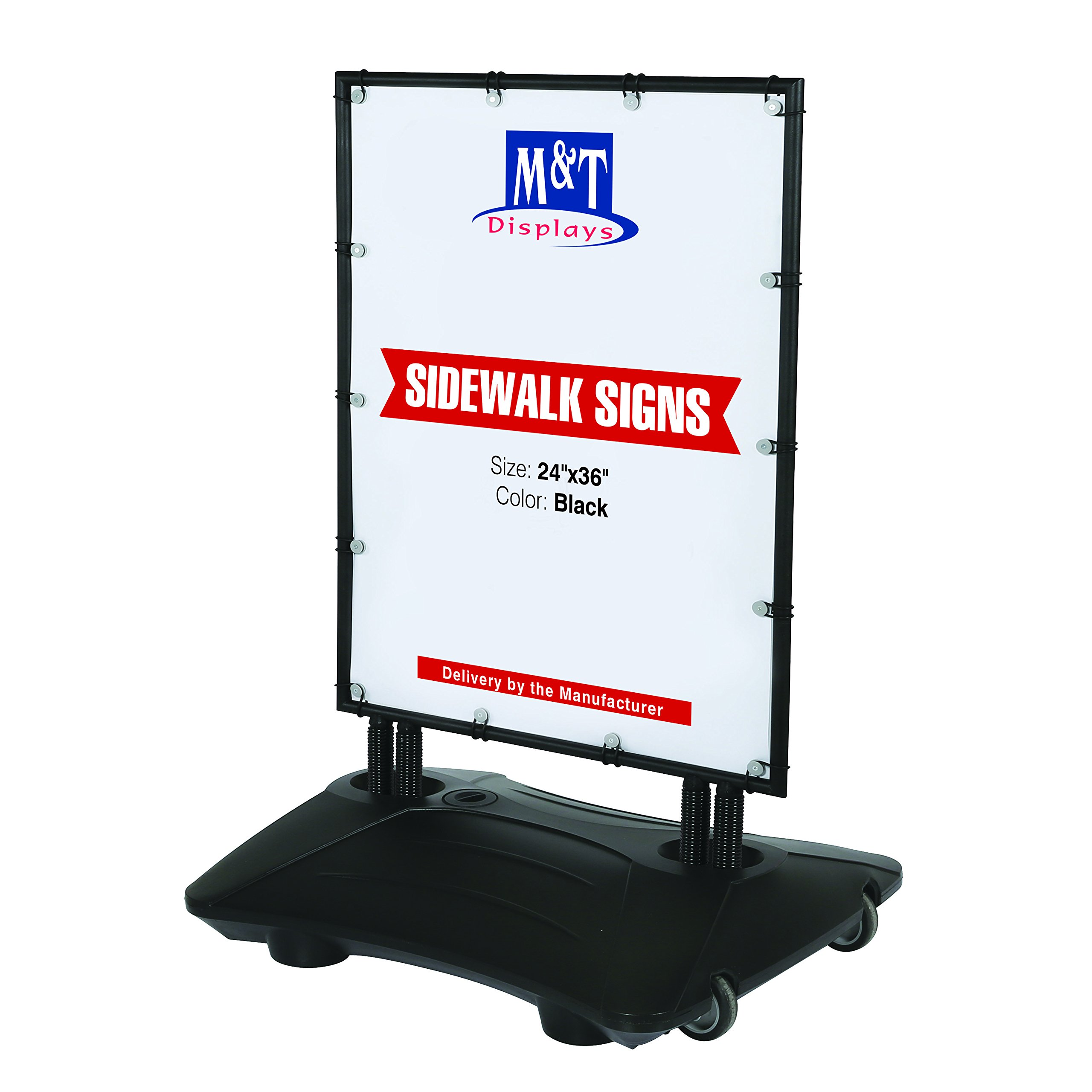 Outdoor Advertising Display Banner WindPro Sidewalk Sign Weatherproof Side, 24x36 Poster Size, Black Frame, Black Water Base, High Wind Resistant, Reusable and dura