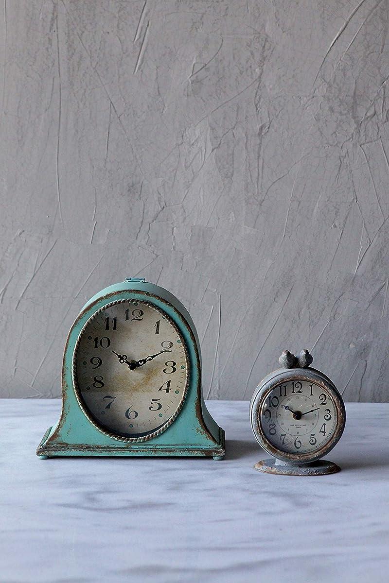 Creative Co-op DA3835 Grey Pewter Mantel Clock with Birds