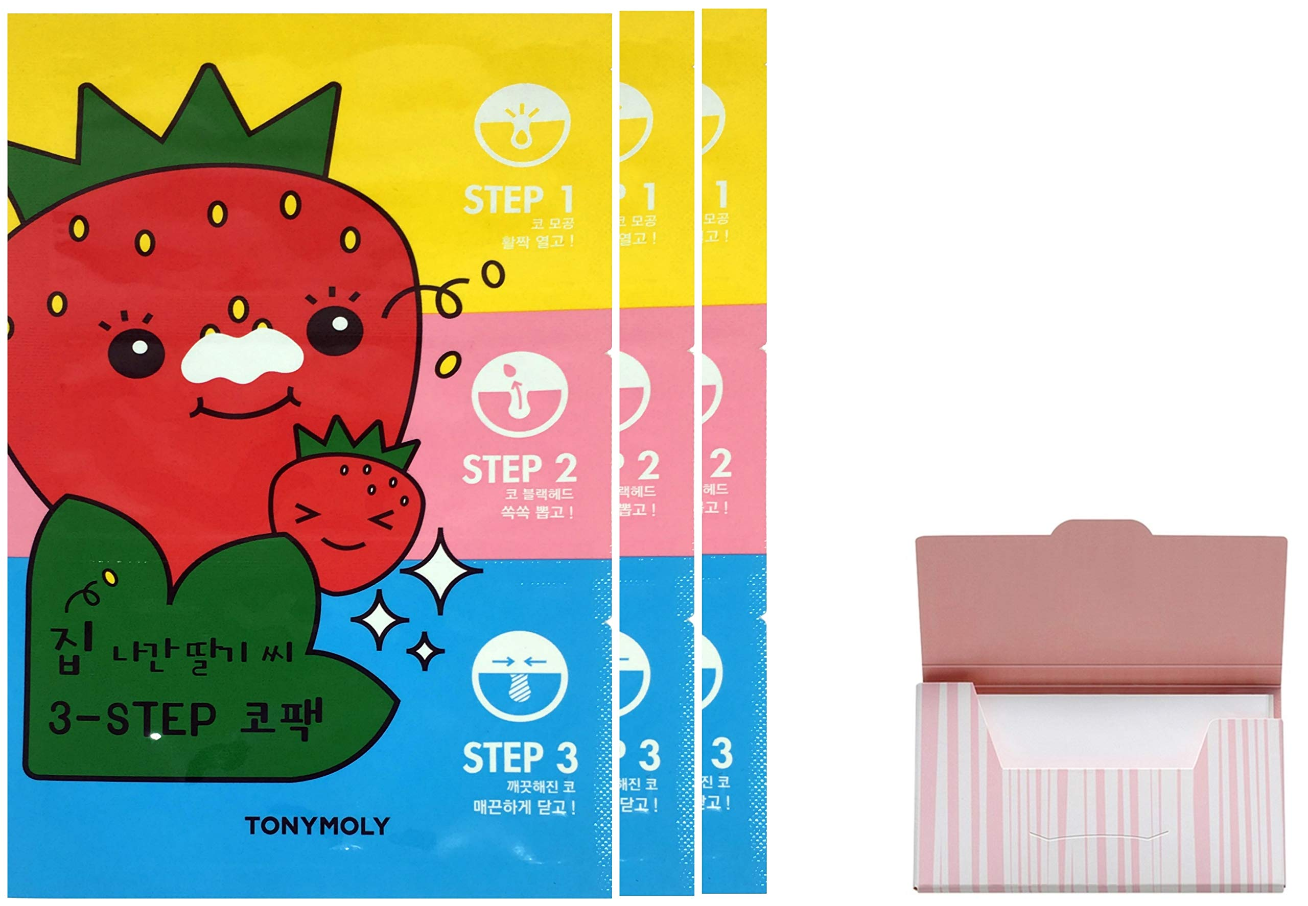 Seedless Strawberry Seeds 3-step Nose Pack 3 Set Bundle with Oil Blotting Paper by Koco4u