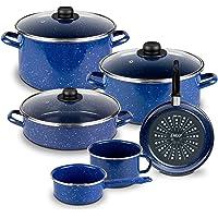 Ekco Batería de Cocina Victoria, color Azul y Brillo Perdurable, Paquete de 9 Piezas