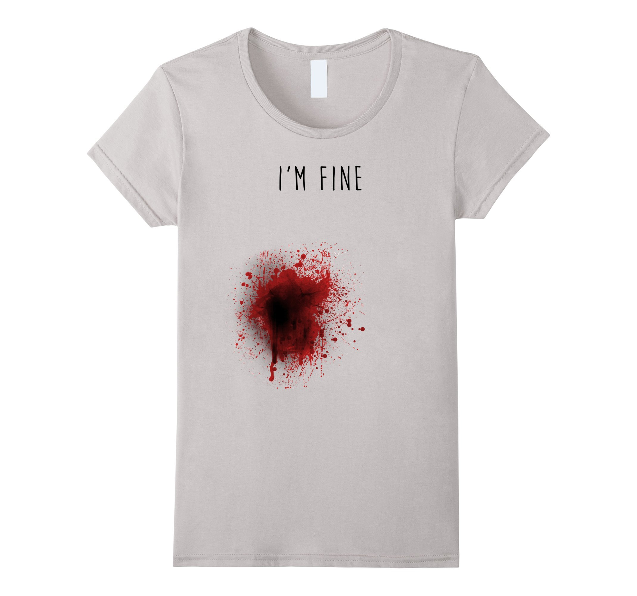 Womens I'm Fine T-shirt Medium Silver